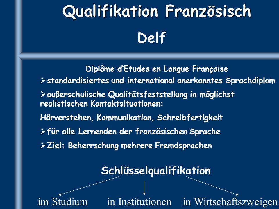 Qualifikation Französisch Delf Diplôme dEtudes en Langue Française standardisiertes und international anerkanntes Sprachdiplom außerschulische Qualitä