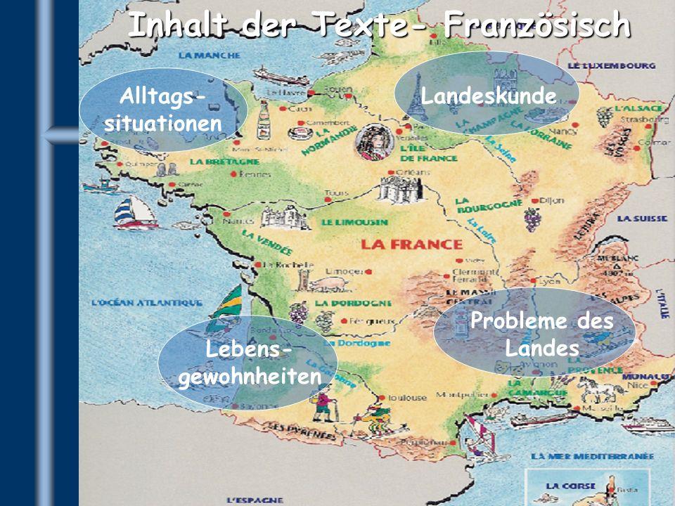 Inhalt der Texte- Französisch Alltags- situationen Landeskunde Probleme des Landes Lebens- gewohnheiten