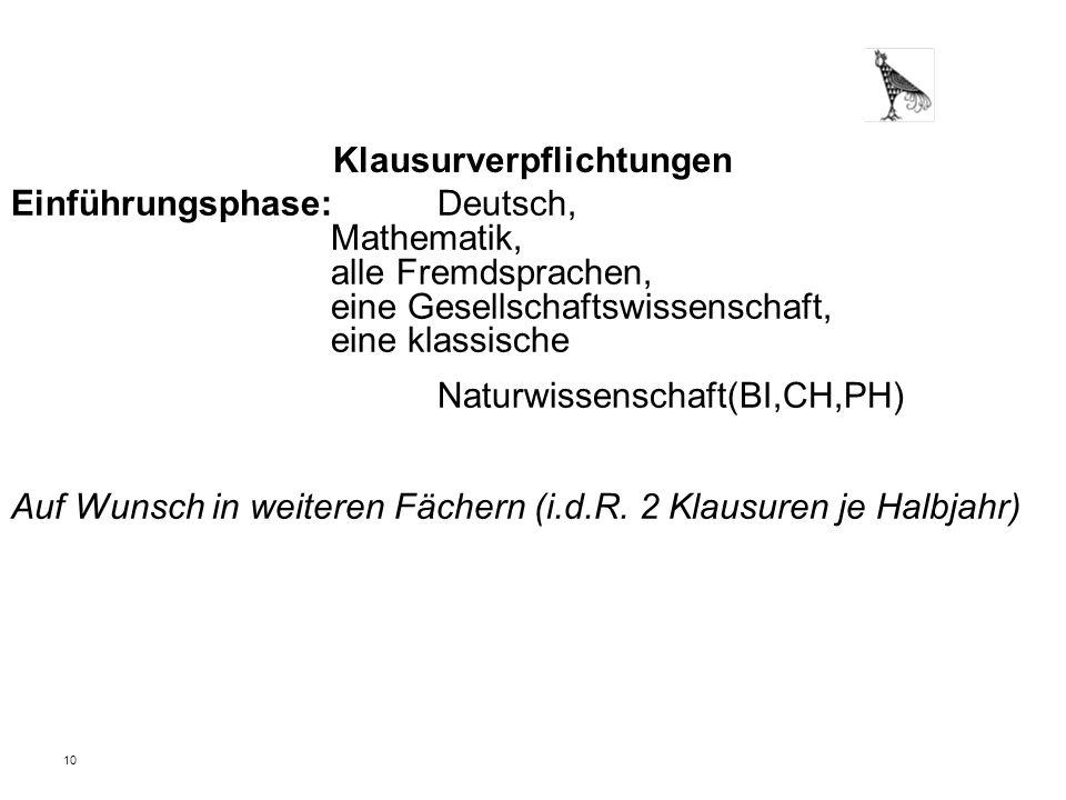 10 Klausurverpflichtungen Einführungsphase: Deutsch, Mathematik, alle Fremdsprachen, eine Gesellschaftswissenschaft, eine klassische Naturwissenschaft