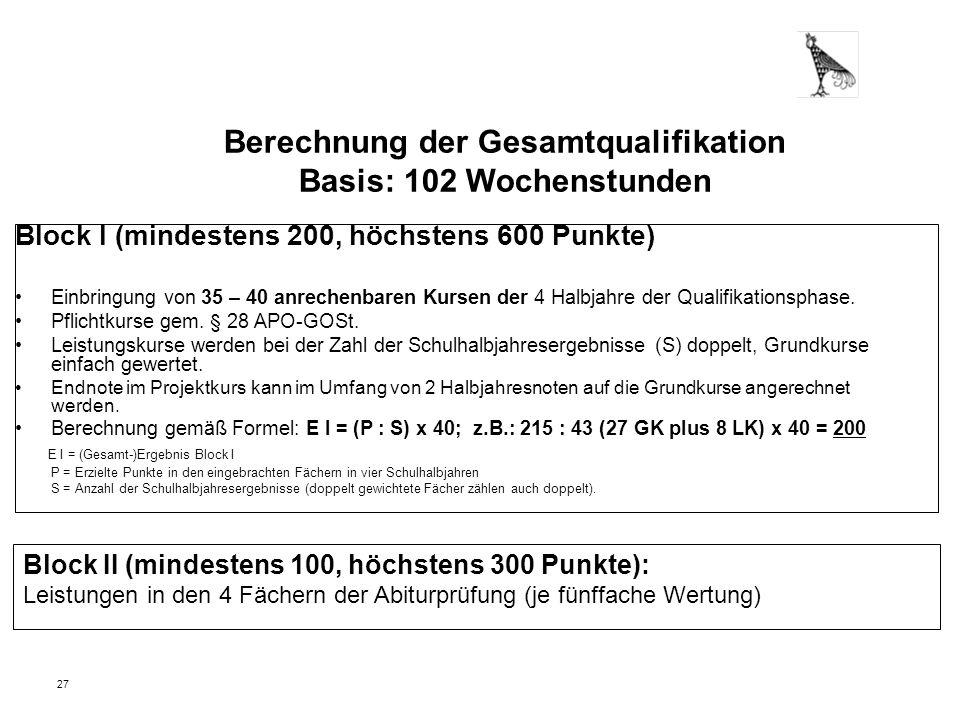 27 Berechnung der Gesamtqualifikation Basis: 102 Wochenstunden Block I (mindestens 200, höchstens 600 Punkte) Einbringung von 35 – 40 anrechenbaren Ku