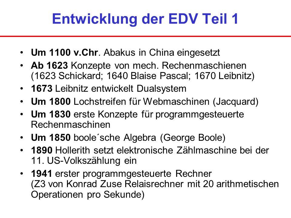 Entwicklung der EDV Teil 1 Um 1100 v.Chr. Abakus in China eingesetzt Ab 1623 Konzepte von mech. Rechenmaschienen (1623 Schickard; 1640 Blaise Pascal;