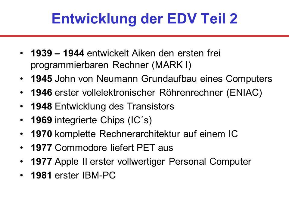 Entwicklung der EDV Teil 2 1939 – 1944 entwickelt Aiken den ersten frei programmierbaren Rechner (MARK I) 1945 John von Neumann Grundaufbau eines Comp