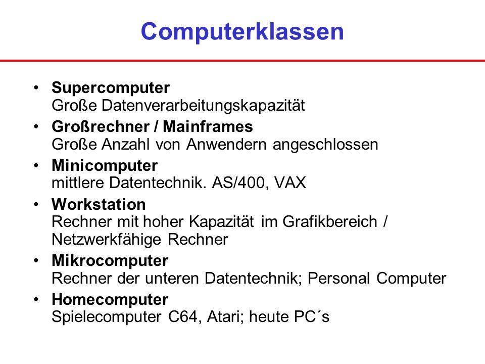 Computerklassen Supercomputer Große Datenverarbeitungskapazität Großrechner / Mainframes Große Anzahl von Anwendern angeschlossen Minicomputer mittler