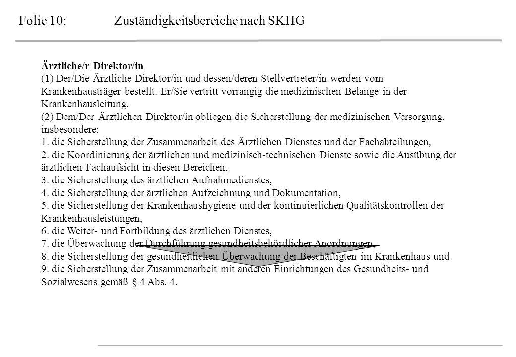 Folie 10:Zuständigkeitsbereiche nach SKHG Ärztliche/r Direktor/in (1) Der/Die Ärztliche Direktor/in und dessen/deren Stellvertreter/in werden vom Kran