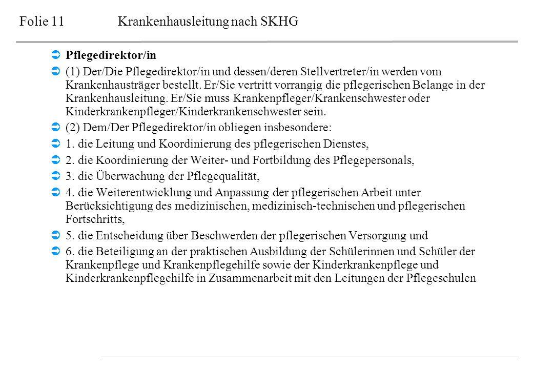 Folie 11Krankenhausleitung nach SKHG Pflegedirektor/in (1) Der/Die Pflegedirektor/in und dessen/deren Stellvertreter/in werden vom Krankenhausträger b