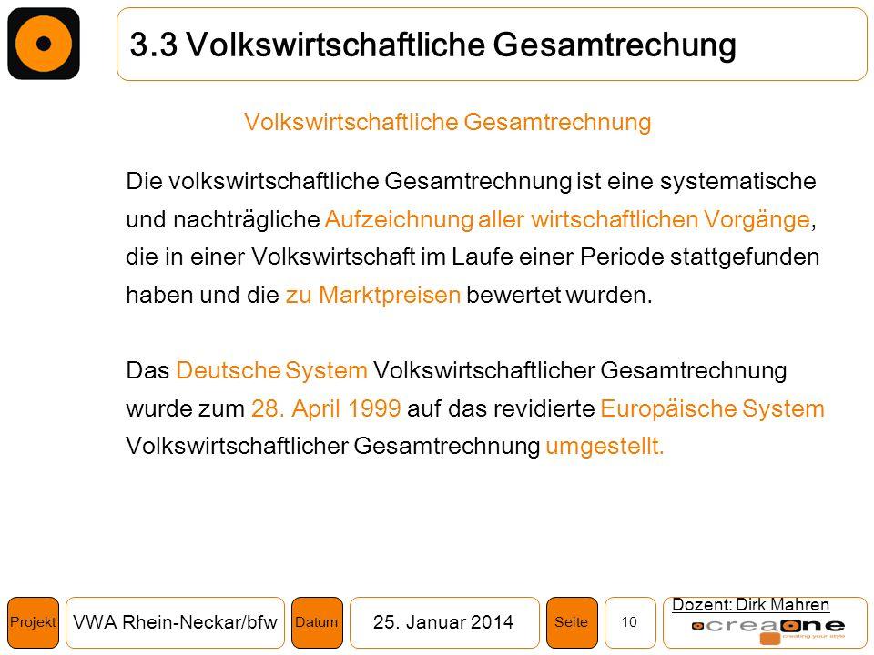 Projekt VWA Rhein-Neckar/bfw25. Januar 2014 10SeiteDatum Dozent: Dirk Mahren 3.3 Volkswirtschaftliche Gesamtrechung Volkswirtschaftliche Gesamtrechnun