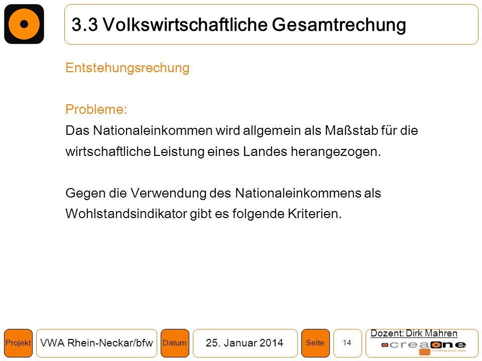 Projekt VWA Rhein-Neckar/bfw25. Januar 2014 14SeiteDatum Dozent: Dirk Mahren 3.3 Volkswirtschaftliche Gesamtrechung Entstehungsrechung Probleme: Das N