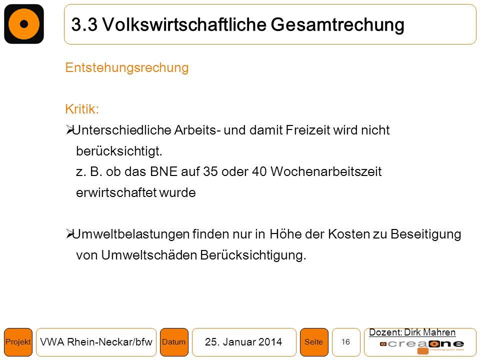 Projekt VWA Rhein-Neckar/bfw25. Januar 2014 16SeiteDatum Dozent: Dirk Mahren 3.3 Volkswirtschaftliche Gesamtrechung Entstehungsrechung Kritik: Untersc