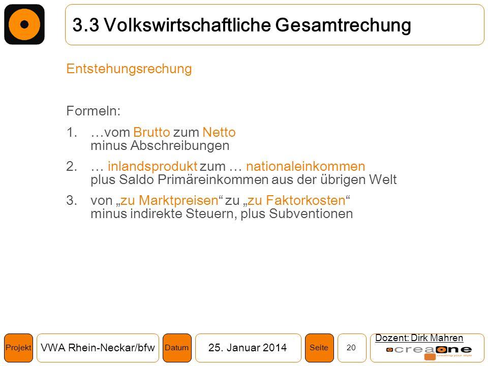 Projekt VWA Rhein-Neckar/bfw25. Januar 2014 20SeiteDatum Dozent: Dirk Mahren 3.3 Volkswirtschaftliche Gesamtrechung Entstehungsrechung Formeln: 1.…vom