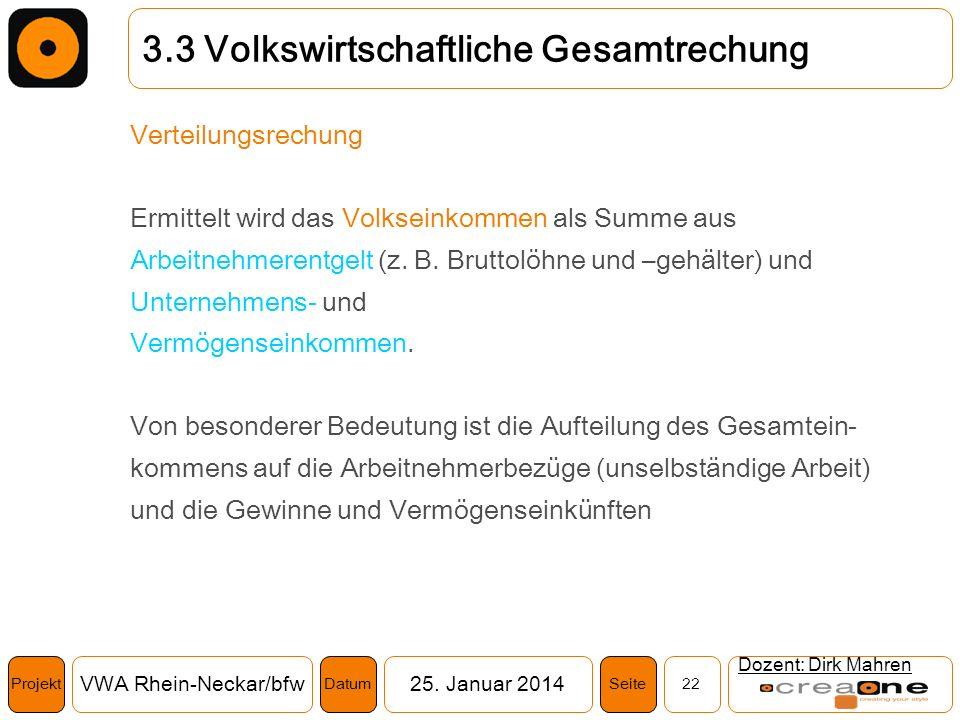 Projekt VWA Rhein-Neckar/bfw25. Januar 2014 22SeiteDatum Dozent: Dirk Mahren 3.3 Volkswirtschaftliche Gesamtrechung Verteilungsrechung Ermittelt wird