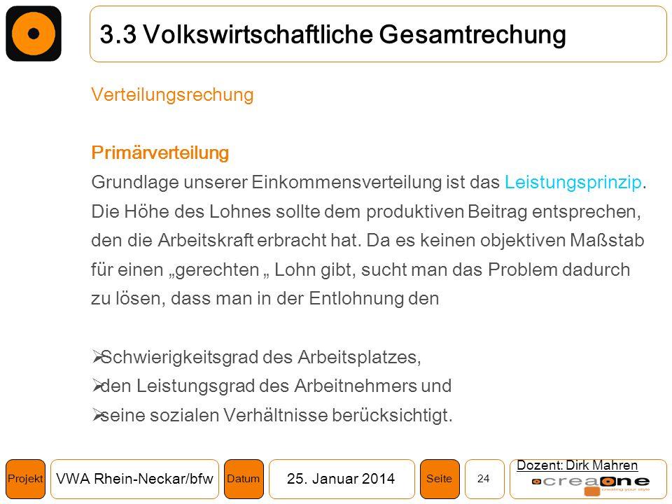 Projekt VWA Rhein-Neckar/bfw25. Januar 2014 24SeiteDatum Dozent: Dirk Mahren 3.3 Volkswirtschaftliche Gesamtrechung Verteilungsrechung Primärverteilun