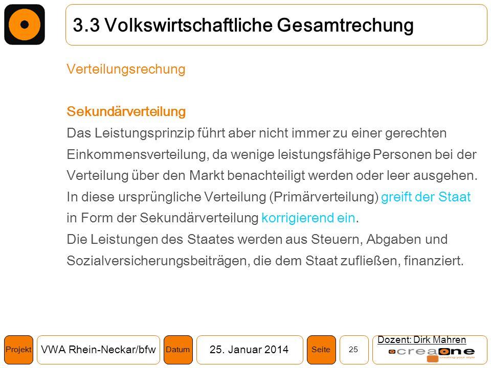Projekt VWA Rhein-Neckar/bfw25. Januar 2014 25SeiteDatum Dozent: Dirk Mahren 3.3 Volkswirtschaftliche Gesamtrechung Verteilungsrechung Sekundärverteil