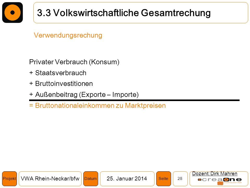 Projekt VWA Rhein-Neckar/bfw25. Januar 2014 28SeiteDatum Dozent: Dirk Mahren 3.3 Volkswirtschaftliche Gesamtrechung Verwendungsrechung Privater Verbra