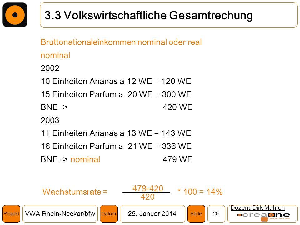 Projekt VWA Rhein-Neckar/bfw25. Januar 2014 29SeiteDatum Dozent: Dirk Mahren 3.3 Volkswirtschaftliche Gesamtrechung Bruttonationaleinkommen nominal od