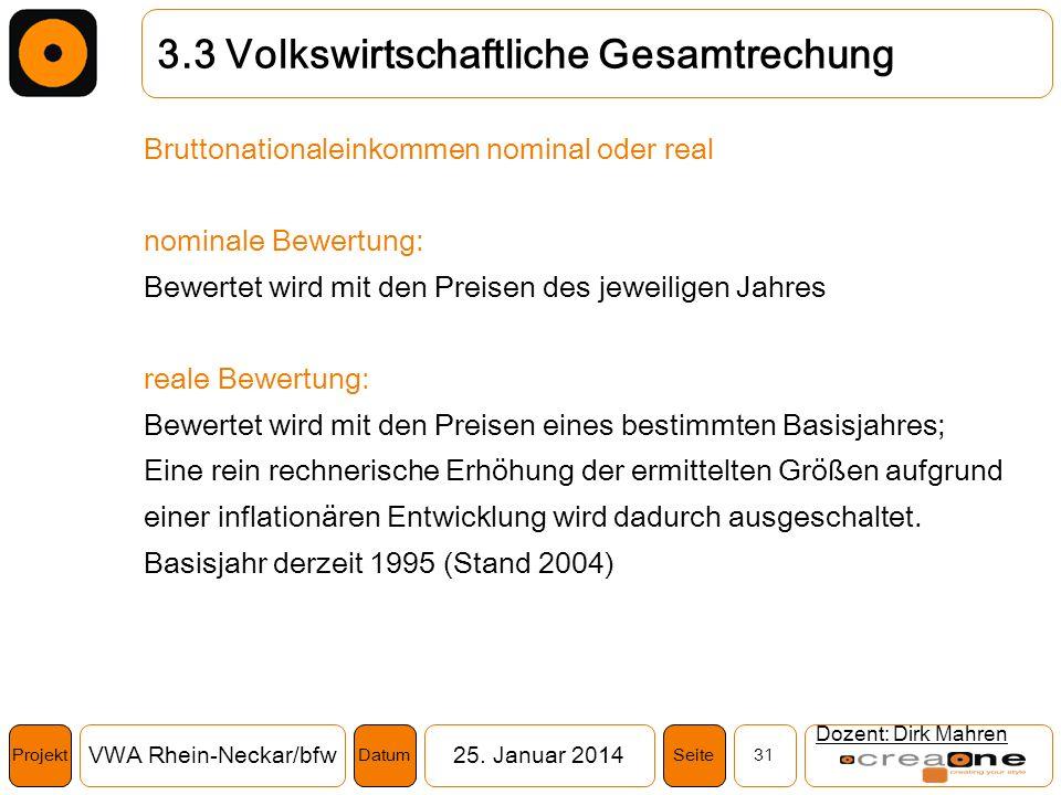 Projekt VWA Rhein-Neckar/bfw25. Januar 2014 31SeiteDatum Dozent: Dirk Mahren 3.3 Volkswirtschaftliche Gesamtrechung Bruttonationaleinkommen nominal od