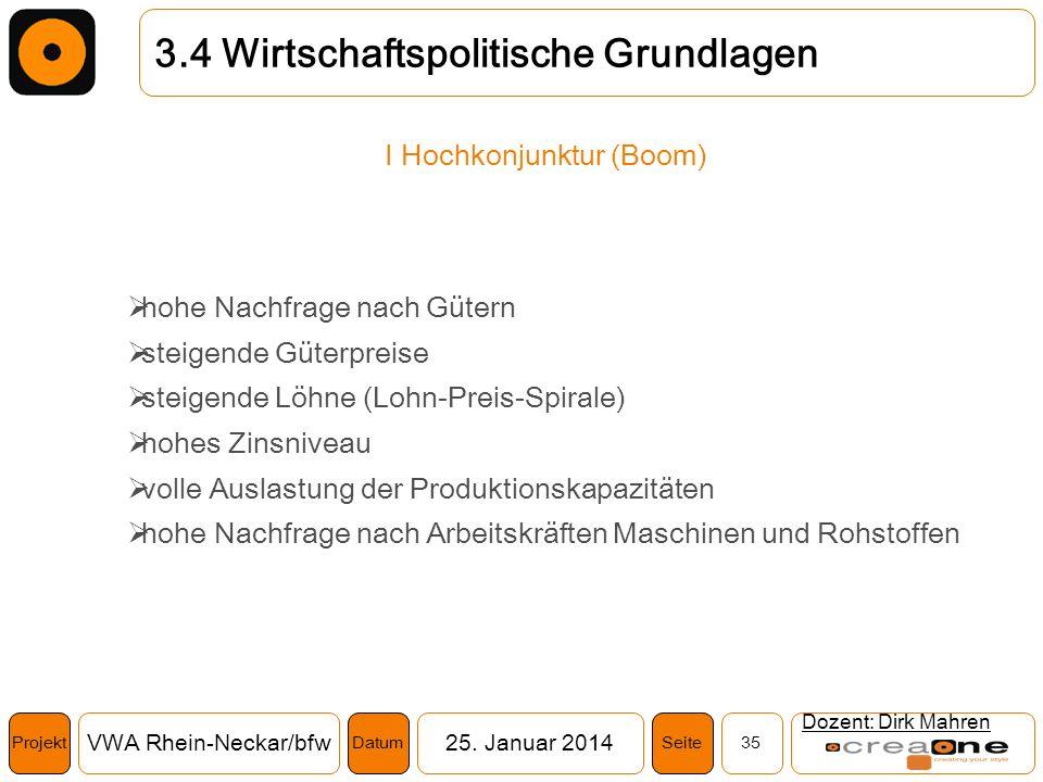 Projekt VWA Rhein-Neckar/bfw25. Januar 2014 35SeiteDatum Dozent: Dirk Mahren 3.4 Wirtschaftspolitische Grundlagen I Hochkonjunktur (Boom) hohe Nachfra