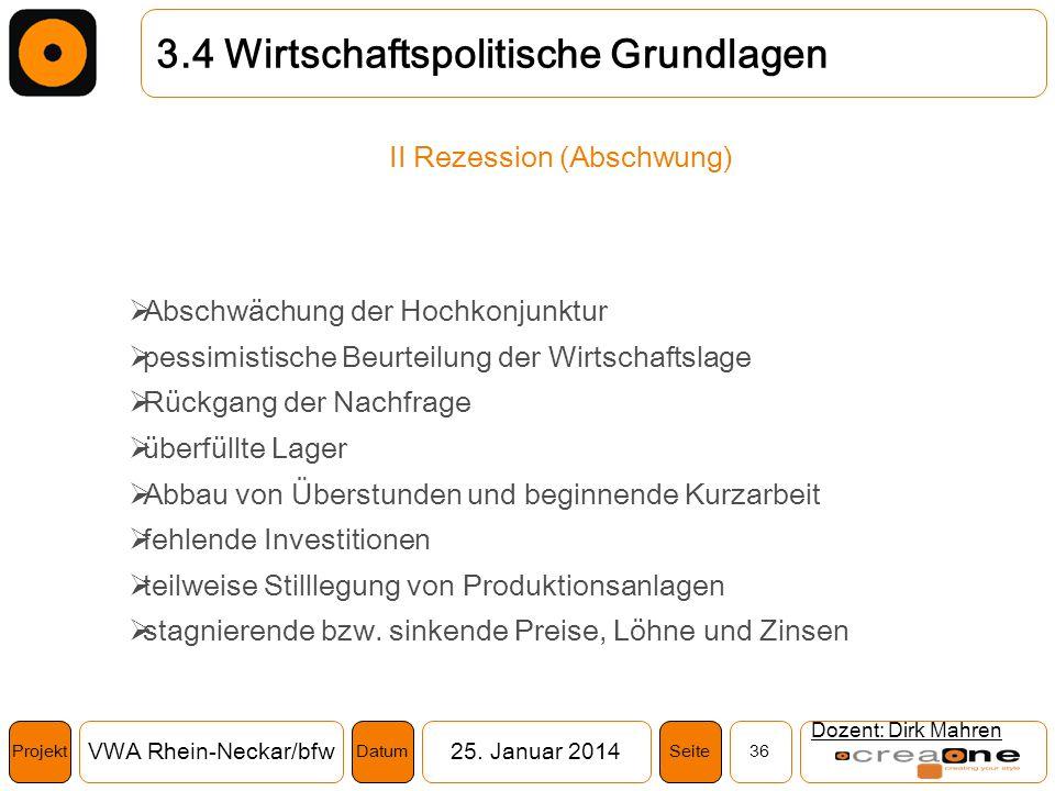 Projekt VWA Rhein-Neckar/bfw25. Januar 2014 36SeiteDatum Dozent: Dirk Mahren 3.4 Wirtschaftspolitische Grundlagen II Rezession (Abschwung) Abschwächun