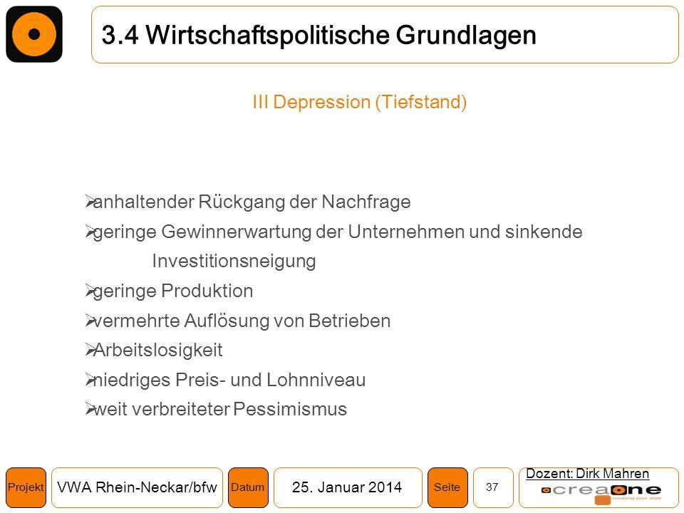 Projekt VWA Rhein-Neckar/bfw25. Januar 2014 37SeiteDatum Dozent: Dirk Mahren 3.4 Wirtschaftspolitische Grundlagen III Depression (Tiefstand) anhaltend