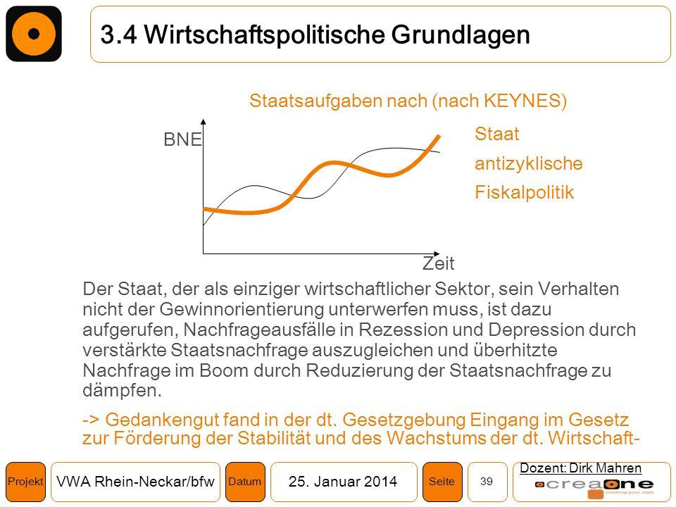 Projekt VWA Rhein-Neckar/bfw25. Januar 2014 39SeiteDatum Dozent: Dirk Mahren 3.4 Wirtschaftspolitische Grundlagen Staatsaufgaben nach (nach KEYNES) De