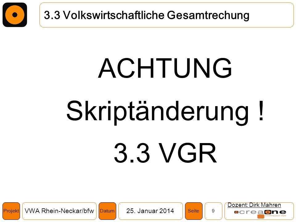 Projekt VWA Rhein-Neckar/bfw25. Januar 2014 9SeiteDatum Dozent: Dirk Mahren 3.3 Volkswirtschaftliche Gesamtrechung ACHTUNG Skriptänderung ! 3.3 VGR