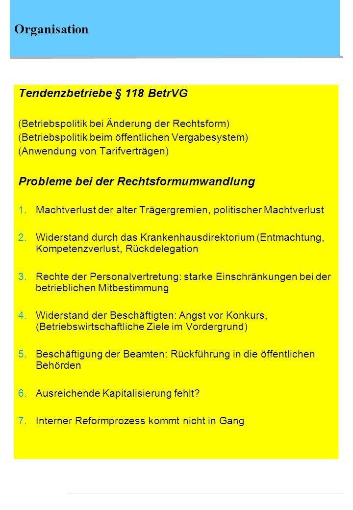 Tendenzbetriebe § 118 BetrVG (Betriebspolitik bei Änderung der Rechtsform) (Betriebspolitik beim öffentlichen Vergabesystem) (Anwendung von Tarifvertr