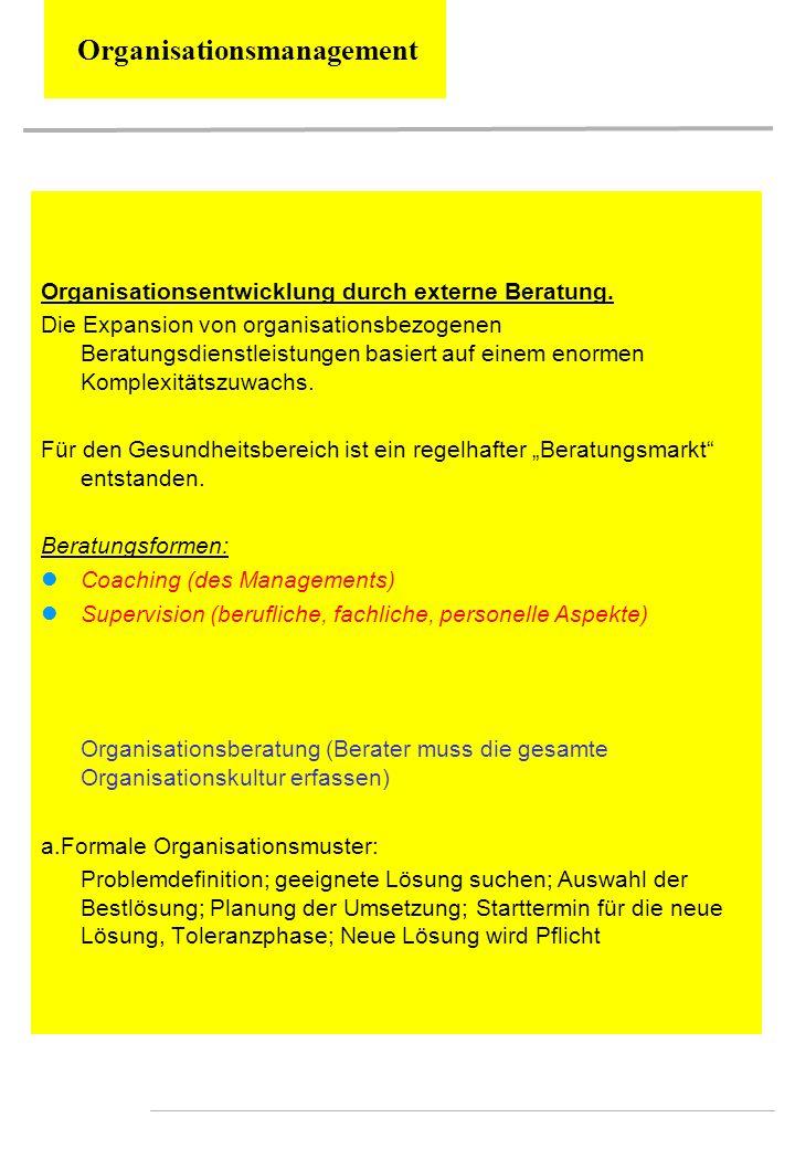 Organisationsmanagement Organisationsentwicklung durch externe Beratung. Die Expansion von organisationsbezogenen Beratungsdienstleistungen basiert au