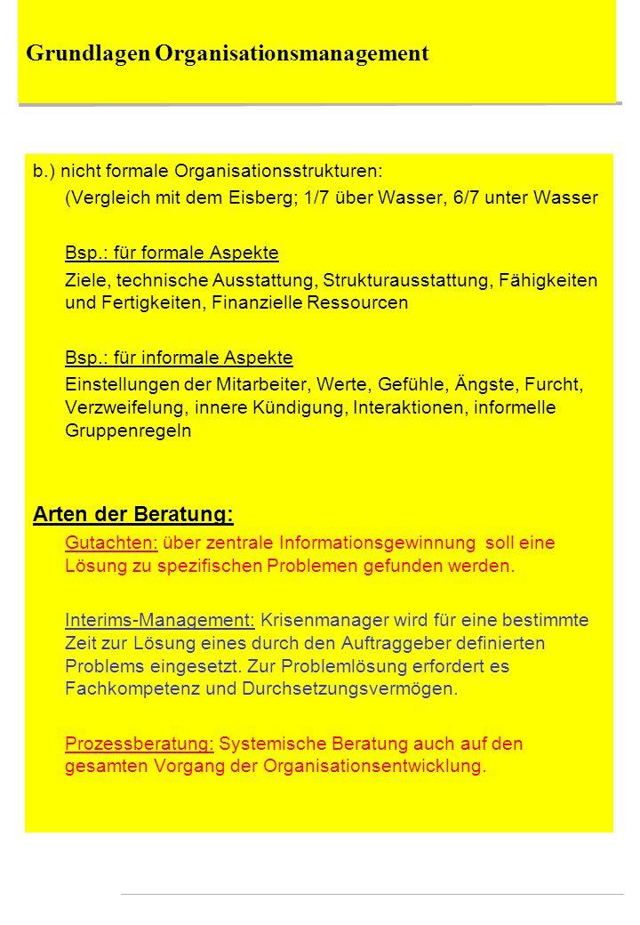 Grundlagen Organisationsmanagement b.) nicht formale Organisationsstrukturen: (Vergleich mit dem Eisberg; 1/7 über Wasser, 6/7 unter Wasser Bsp.: für