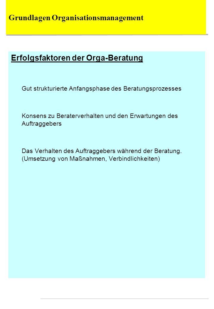 Erfolgsfaktoren der Orga-Beratung Gut strukturierte Anfangsphase des Beratungsprozesses Konsens zu Beraterverhalten und den Erwartungen des Auftraggeb