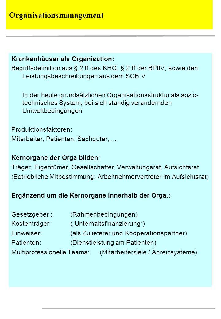 Krankenhäuser als Organisation: Begriffsdefinition aus § 2 ff des KHG, § 2 ff der BPflV, sowie den Leistungsbeschreibungen aus dem SGB V In der heute