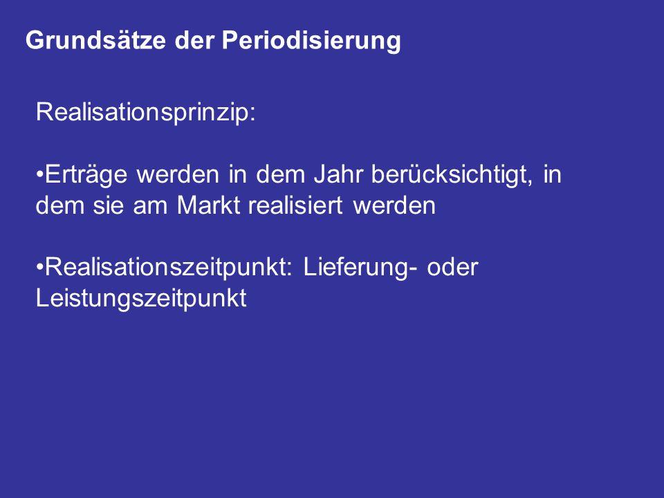 Grundsätze der Periodisierung Realisationsprinzip: Erträge werden in dem Jahr berücksichtigt, in dem sie am Markt realisiert werden Realisationszeitpu