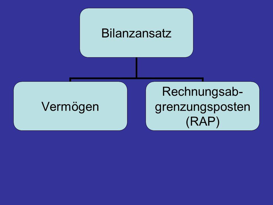 Bilanzansatz Vermögen Rechnungsab- grenzungsposten (RAP)