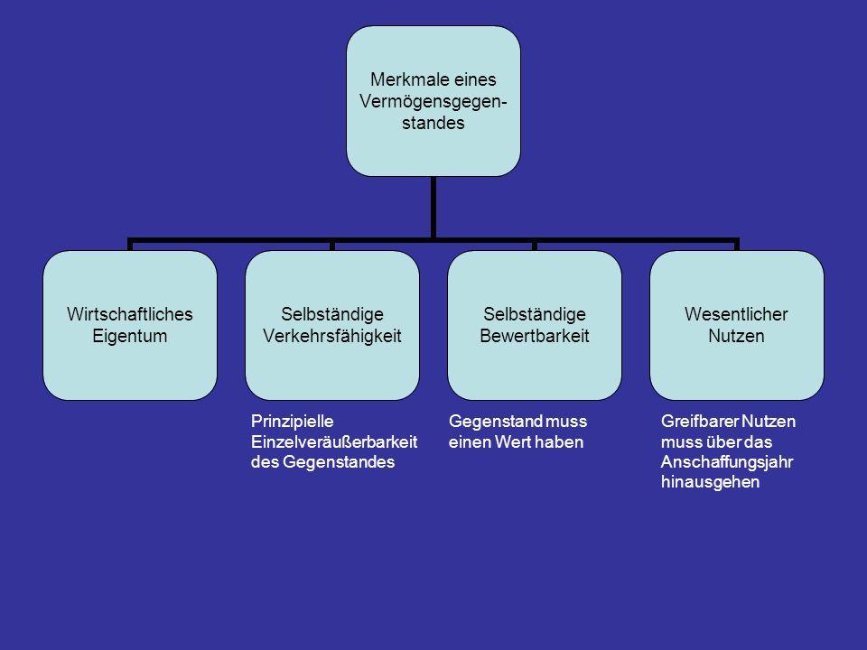 Merkmale eines Vermögensgegen- standes Wirtschaftliches Eigentum Selbständige Verkehrsfähigkeit Selbständige Bewertbarkeit Wesentlicher Nutzen Prinzip