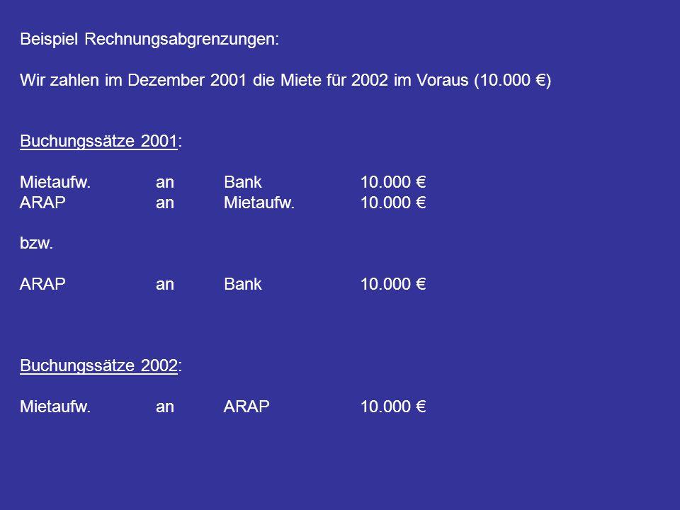Beispiel Rechnungsabgrenzungen: Wir zahlen im Dezember 2001 die Miete für 2002 im Voraus (10.000 ) Buchungssätze 2001: Mietaufw.an Bank10.000 ARAPanMi