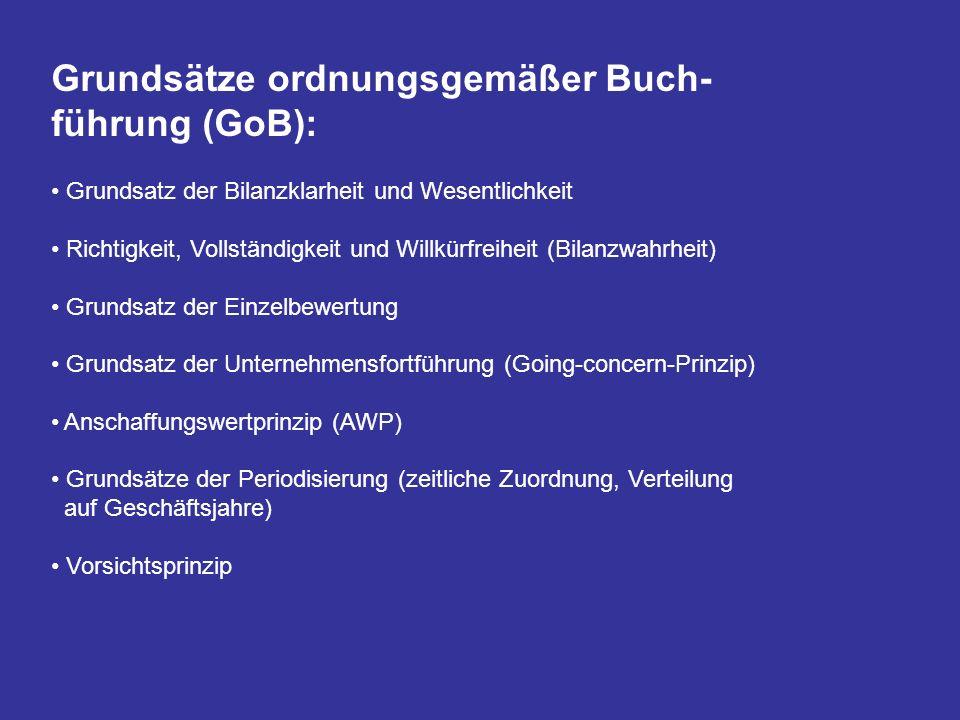 Grundsätze ordnungsgemäßer Buch- führung (GoB): Grundsatz der Bilanzklarheit und Wesentlichkeit Richtigkeit, Vollständigkeit und Willkürfreiheit (Bila