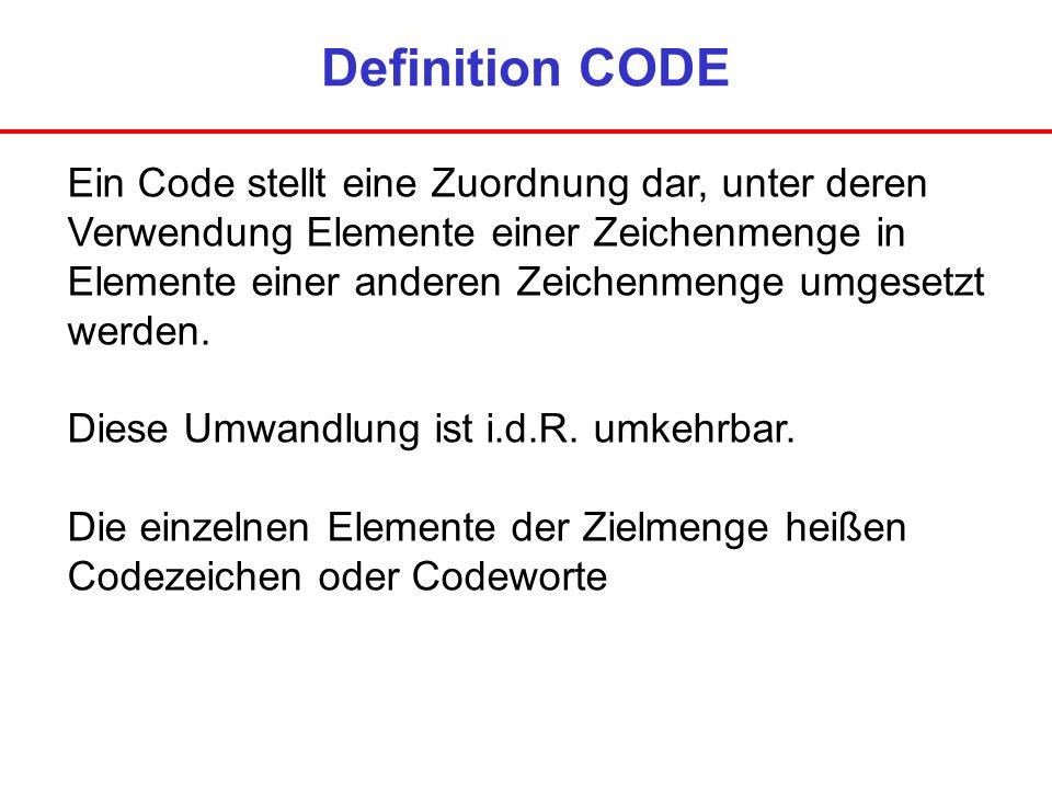 Definition CODE Ein Code stellt eine Zuordnung dar, unter deren Verwendung Elemente einer Zeichenmenge in Elemente einer anderen Zeichenmenge umgesetz