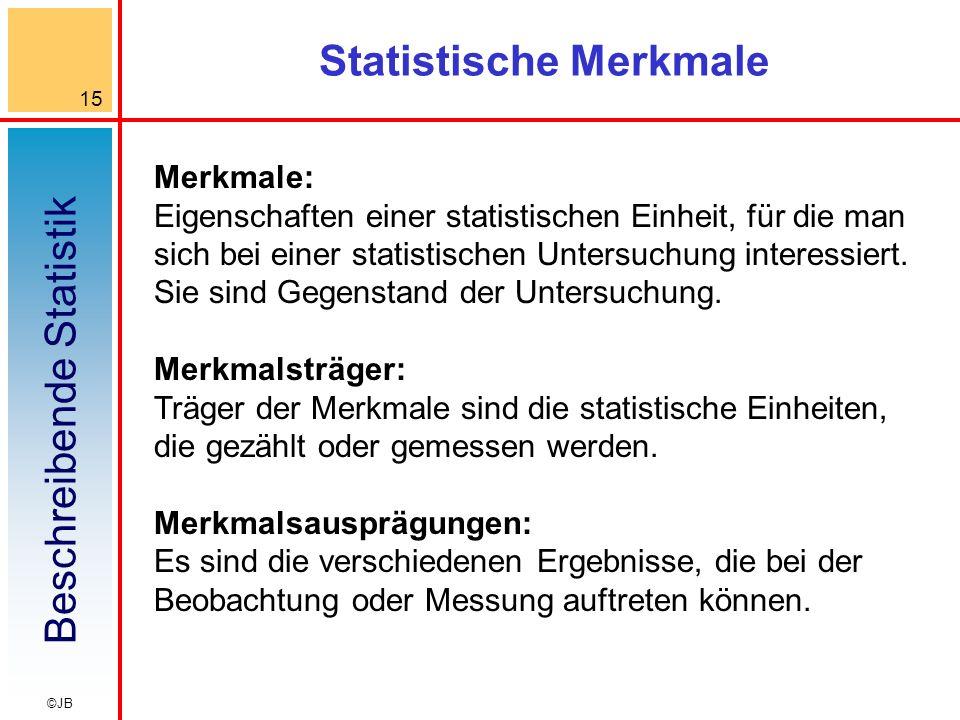 Beschreibende Statistik 15 ©JB Statistische Merkmale Merkmale: Eigenschaften einer statistischen Einheit, für die man sich bei einer statistischen Unt