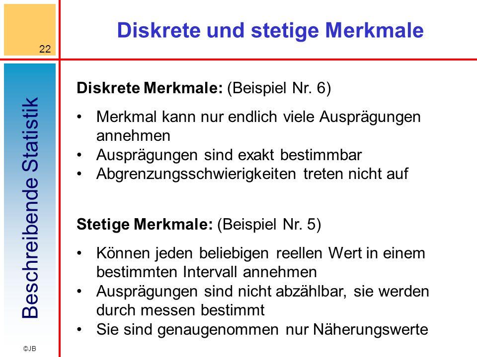 Beschreibende Statistik 22 ©JB Diskrete und stetige Merkmale Diskrete Merkmale: (Beispiel Nr. 6) Merkmal kann nur endlich viele Ausprägungen annehmen