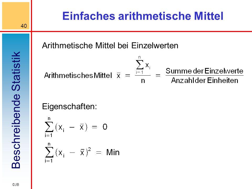 Beschreibende Statistik 40 ©JB Einfaches arithmetische Mittel Arithmetische Mittel bei Einzelwerten Eigenschaften: