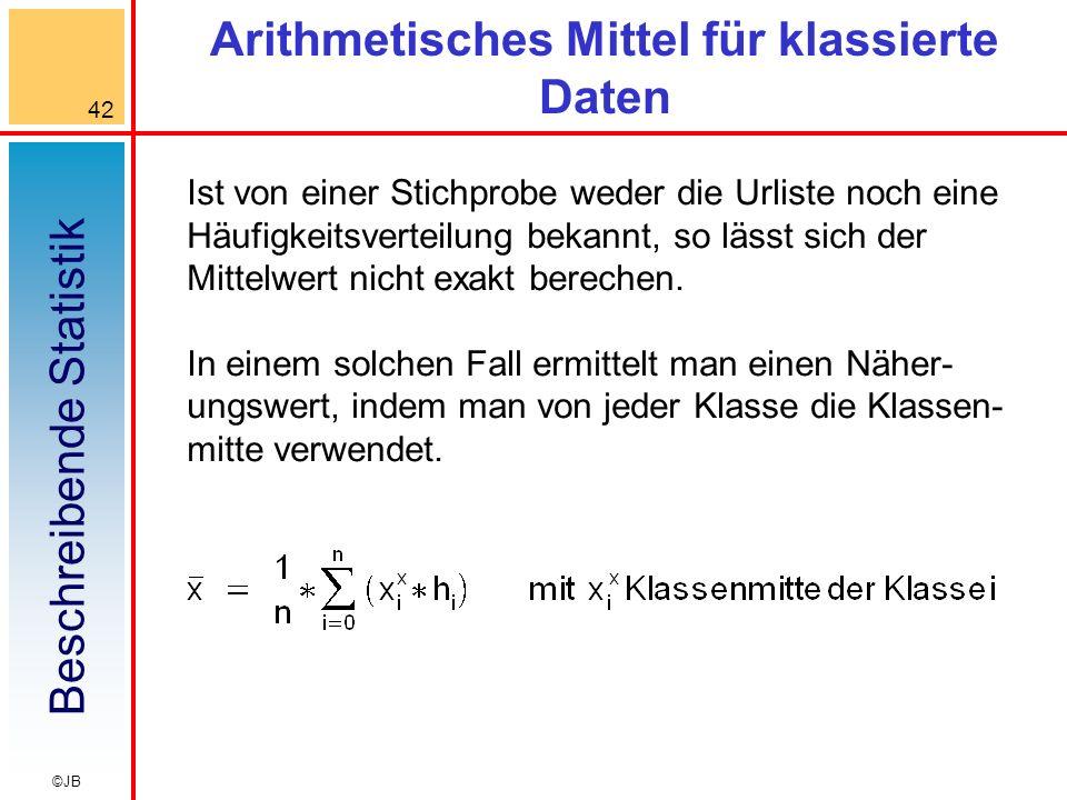 Beschreibende Statistik 42 ©JB Arithmetisches Mittel für klassierte Daten Ist von einer Stichprobe weder die Urliste noch eine Häufigkeitsverteilung bekannt, so lässt sich der Mittelwert nicht exakt berechen.