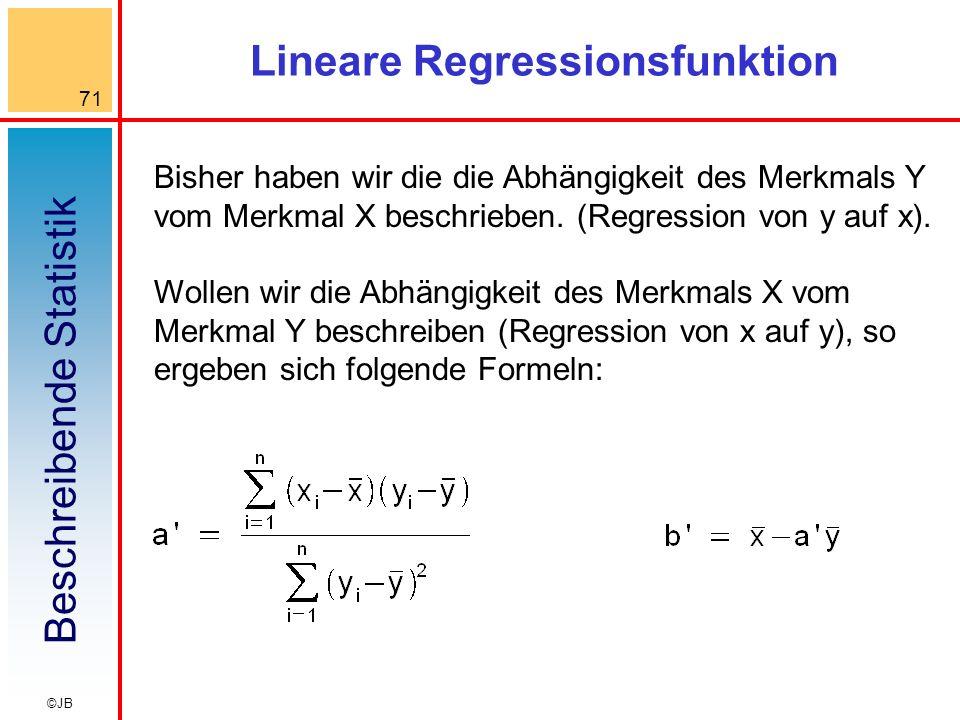 Beschreibende Statistik 71 ©JB Lineare Regressionsfunktion Bisher haben wir die die Abhängigkeit des Merkmals Y vom Merkmal X beschrieben.