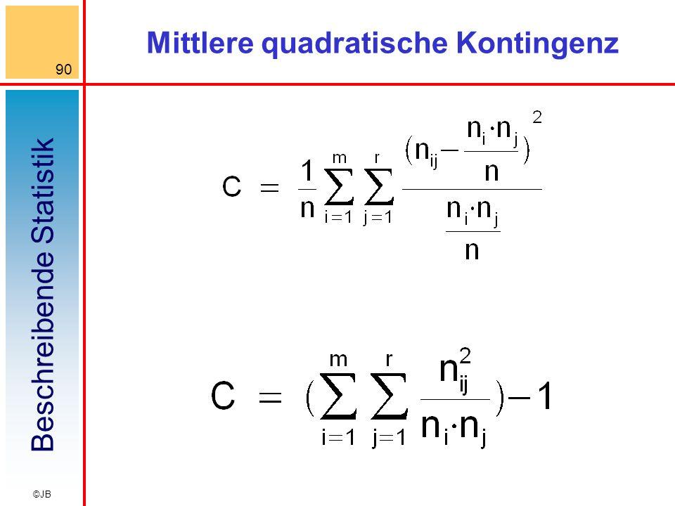 Beschreibende Statistik 90 ©JB Mittlere quadratische Kontingenz