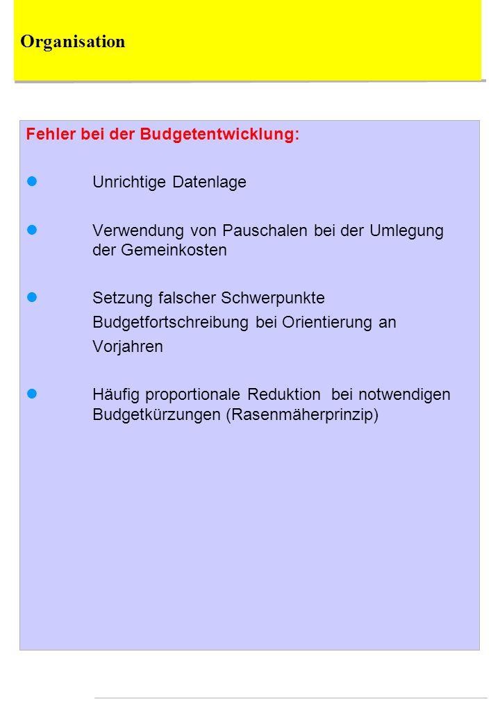 Fehler bei der Budgetentwicklung: Unrichtige Datenlage Verwendung von Pauschalen bei der Umlegung der Gemeinkosten Setzung falscher Schwerpunkte Budge