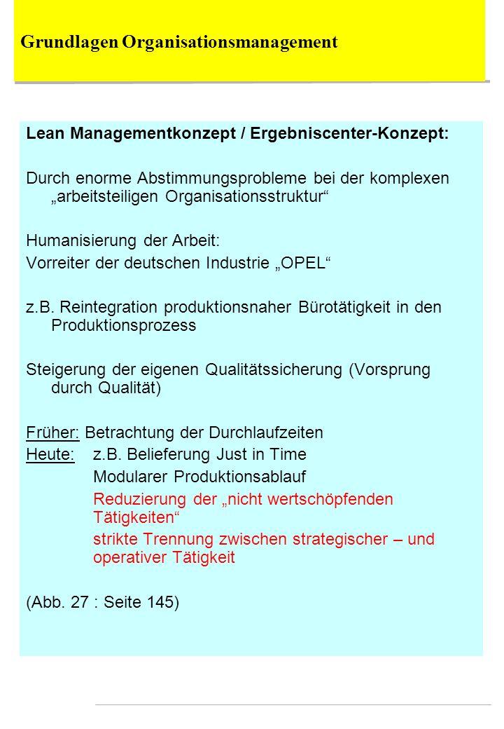 Lean Managementkonzept / Ergebniscenter-Konzept: Durch enorme Abstimmungsprobleme bei der komplexen arbeitsteiligen Organisationsstruktur Humanisierun