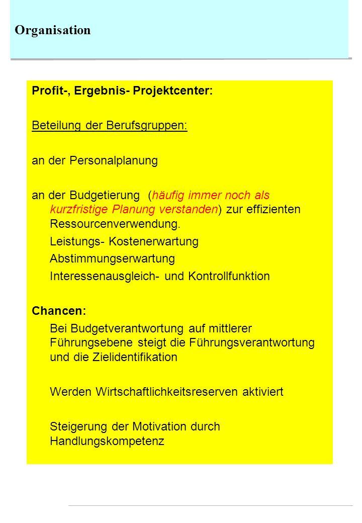 Organisation Profit-, Ergebnis- Projektcenter: Beteilung der Berufsgruppen: an der Personalplanung an der Budgetierung (häufig immer noch als kurzfris