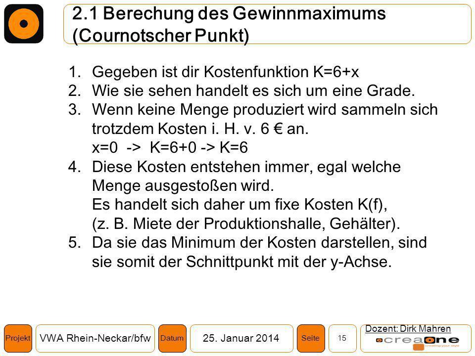 Projekt VWA Rhein-Neckar/bfw25. Januar 2014 15SeiteDatum 2.1 Berechung des Gewinnmaximums (Cournotscher Punkt) Dozent: Dirk Mahren 1.Gegeben ist dir K
