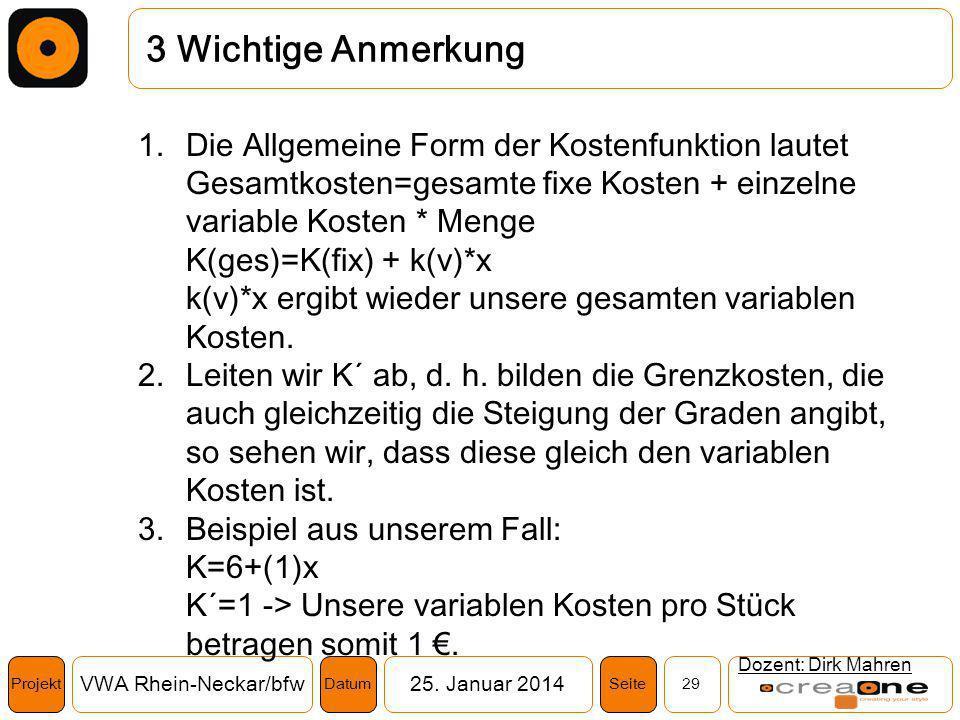 Projekt VWA Rhein-Neckar/bfw25. Januar 2014 29SeiteDatum 3 Wichtige Anmerkung Dozent: Dirk Mahren 1.Die Allgemeine Form der Kostenfunktion lautet Gesa