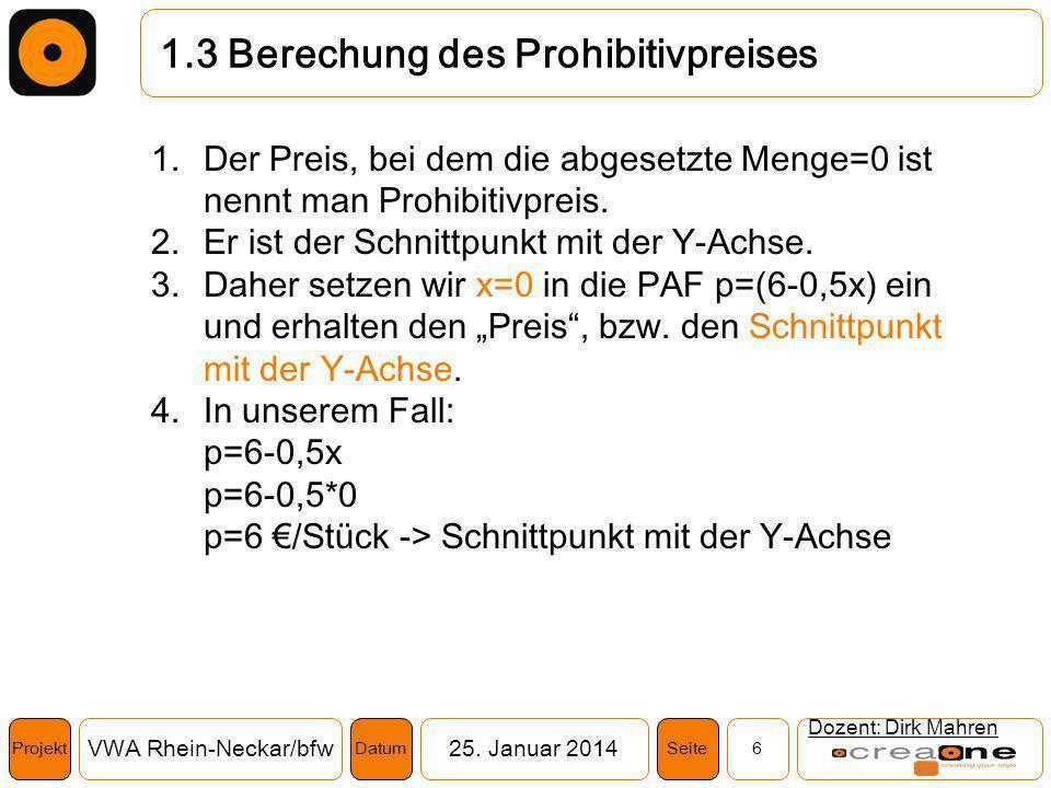 Projekt VWA Rhein-Neckar/bfw25. Januar 2014 6SeiteDatum 1.3 Berechung des Prohibitivpreises Dozent: Dirk Mahren 1.Der Preis, bei dem die abgesetzte Me