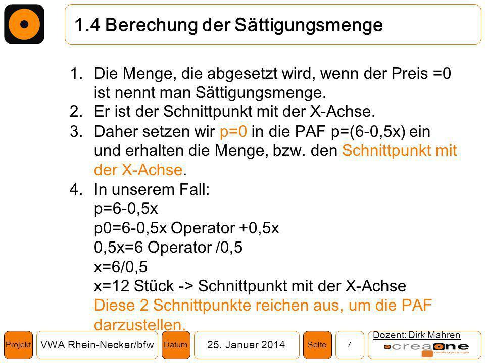 Projekt VWA Rhein-Neckar/bfw25. Januar 2014 7SeiteDatum 1.4 Berechung der Sättigungsmenge Dozent: Dirk Mahren 1.Die Menge, die abgesetzt wird, wenn de
