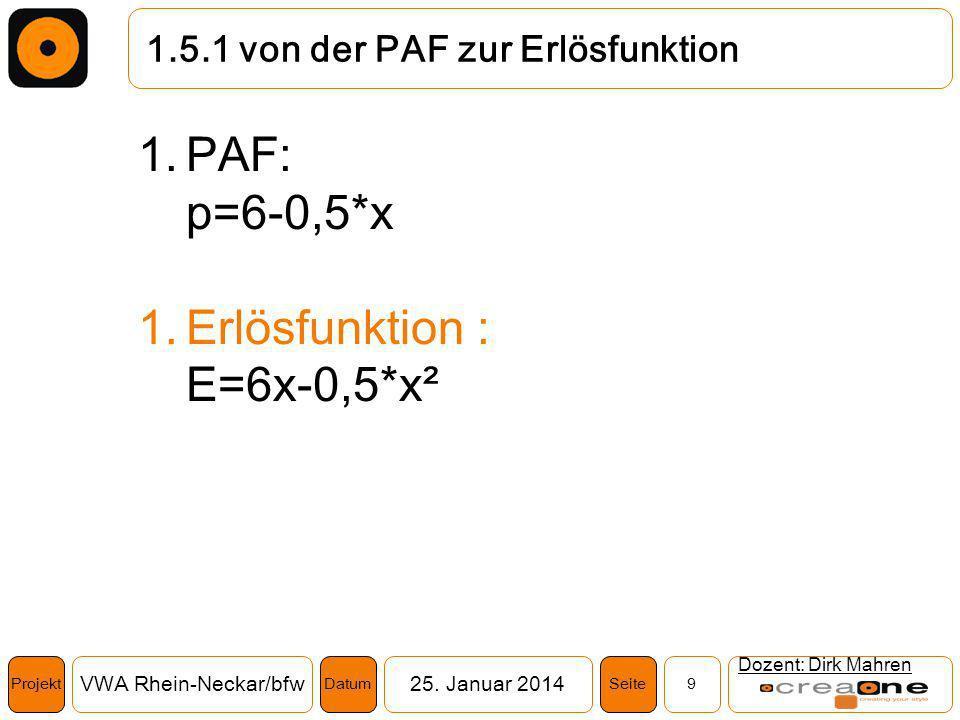 Projekt VWA Rhein-Neckar/bfw25. Januar 2014 9SeiteDatum 1.5.1 von der PAF zur Erlösfunktion Dozent: Dirk Mahren 1.PAF: p=6-0,5*x 1.Erlösfunktion : E=6