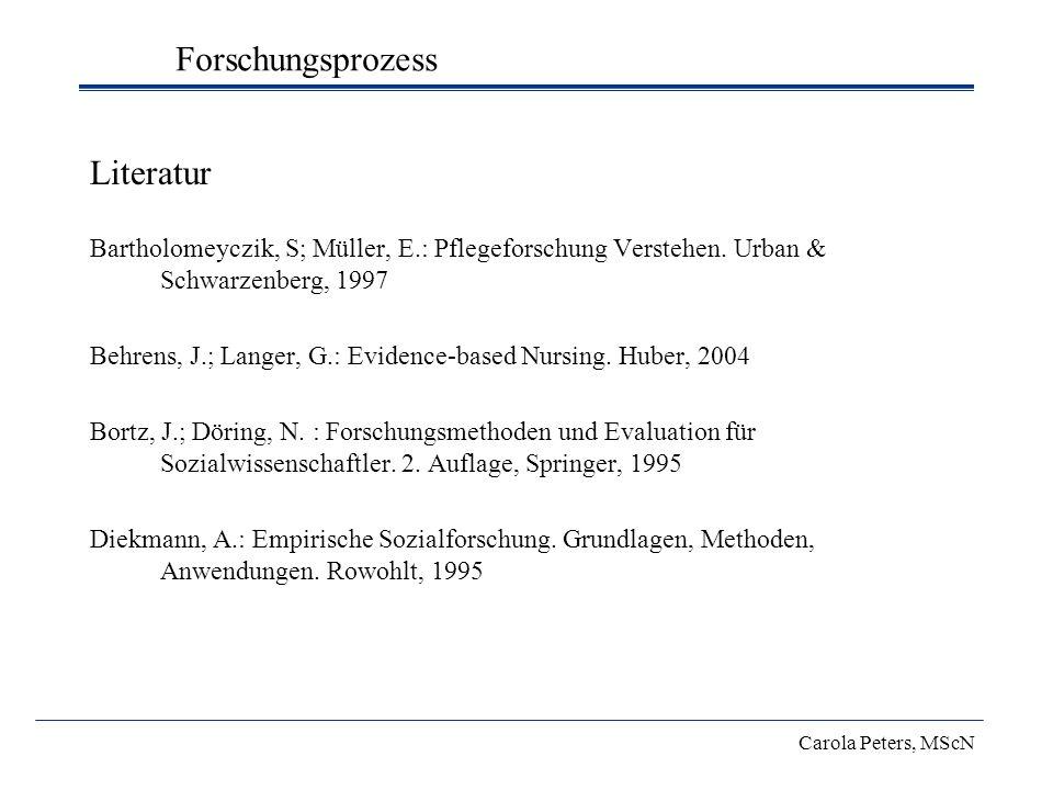 Literatur Bartholomeyczik, S; Müller, E.: Pflegeforschung Verstehen. Urban & Schwarzenberg, 1997 Behrens, J.; Langer, G.: Evidence-based Nursing. Hube